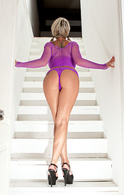Busty Nikki Sims In Purple Mesh And Thong Showing Lots Of Leg And Lots Of Boob - Picture 3