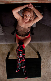 Busty Nikki Teases In Red Lingerie Mesh Top And Red And Black Boots - Picture 14