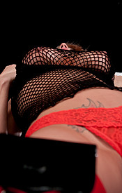 Busty Nikki Teases In Red Lingerie Mesh Top And Red And Black Boots - Picture 15