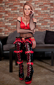 Busty Nikki Teases In Red Lingerie Mesh Top And Red And Black Boots - Picture 4