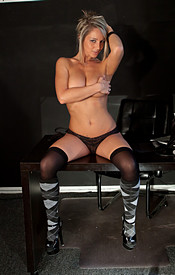 Busty Nikki Naked On Her Desk With Just A Thong And Thigh Highs On - Picture 11