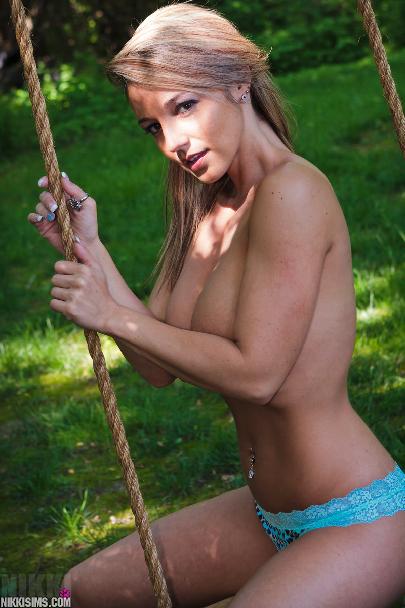 Nikki Sims Having Some Fun On The Swing And Getting Naked - Picture 12