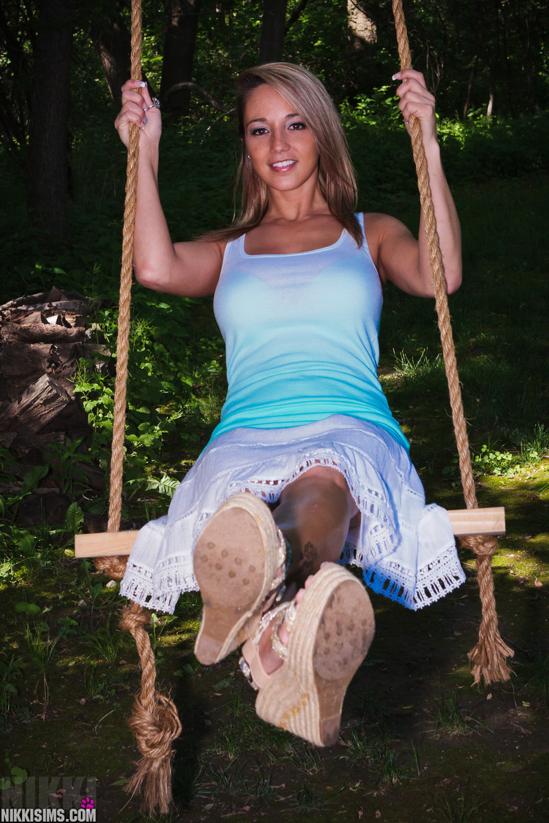 Nikki Sims Having Some Fun On The Swing And Getting Naked - Picture 3