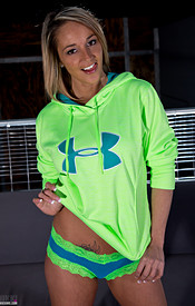 Nikki Sims Looking Cute In Her Ua Hoodie And Showing Off Her Big Tits - Picture 1