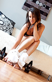White Pants And No Panties On Top Heavy Nikki. Naked On The Couch, Barefeet And All. - Picture 8